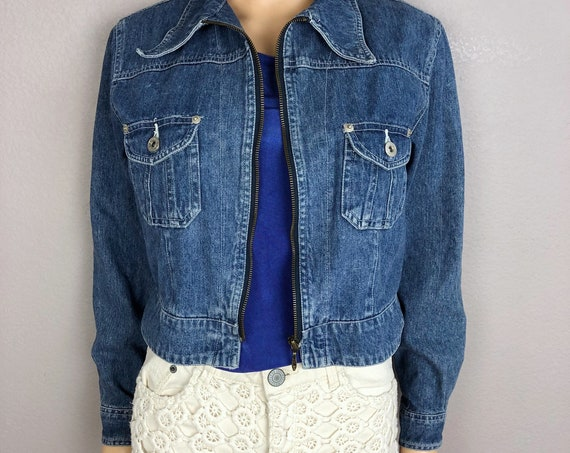 90s Women's Express Denim Jacket Size Medium Zip Front Medium Wash 90s Clothing Epsteam