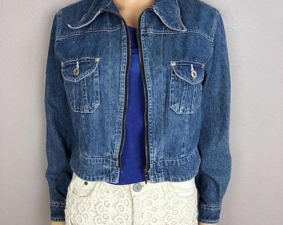 90s Women's Express Denim Jacket Size Medium Zip Front Medium Wash 90s Clothing Epsteam
