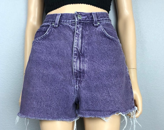 Jordache 80's Vintage Women's Cutoff Shorts Purple Acid Wash High Waisted Sz 28 80s Clothing Epsteam
