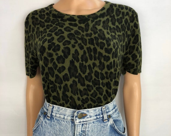 90s Women's Leopard Print Angora Sweater by Casual Corner Size Large Short Sleeve Crewneck 90s Clothing Epsteam