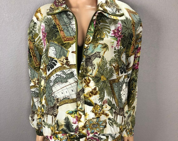 80s Women's Safari Themed Silk Windbreaker Size Medium Oversized Zip Up Bomber Jacket 80s Clothing Epsteam