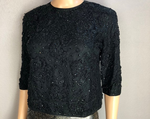 50s Women's Beaded Lace Top Size 6 Small Black Pinup Formal Wear Cropped Blouse 50s Clothing Epsteam