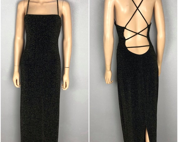 90s Women's City Triangles Sparkly Evening Gown Size Medium Strappy Open Back Party Dress Black Gold 90s Clothing Epsteam