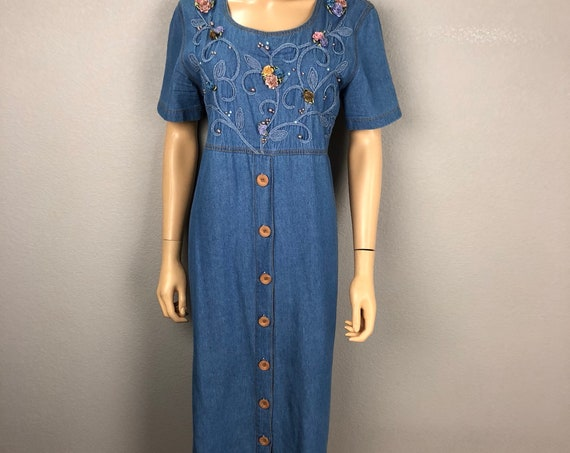 80s Women's Chambray Midi Dress Size 10P Floral Applique Embelished Casual Modest Dress 80s Clothing Epsteam