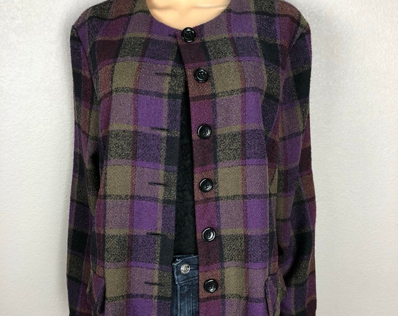 90s Women's Purple Plaid Jacket Size 16 Long Sleeve Lightweight Casual Blazer Jacket 90s Clothing