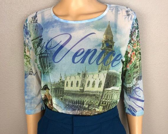 90s Women's Venice Themed Mesh Top Size Medium Sheer 3/4 Sleeve Layering Tee 90s Clothing Epsteam