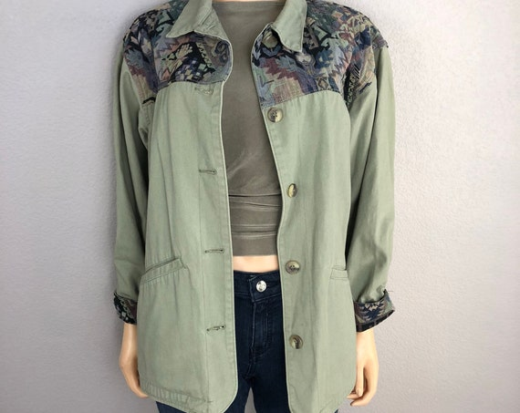 80's L.L. Bean Women's Utility Jacket Size Medium Sage Green Casual Button Down Jacket 80s Clothing Epsteam