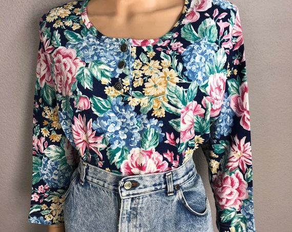 80s Women's Forenza Floral Print T-Shirt Size Large Cotton 3/4 Sleeve Tee 80s Clothing Epsteam