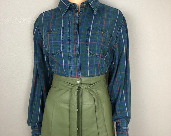 90s Women's Plaid Button Down Chambray Shirt By Liz Claiborne Size 14 Cotton Long Sleeve Casual Epsteam