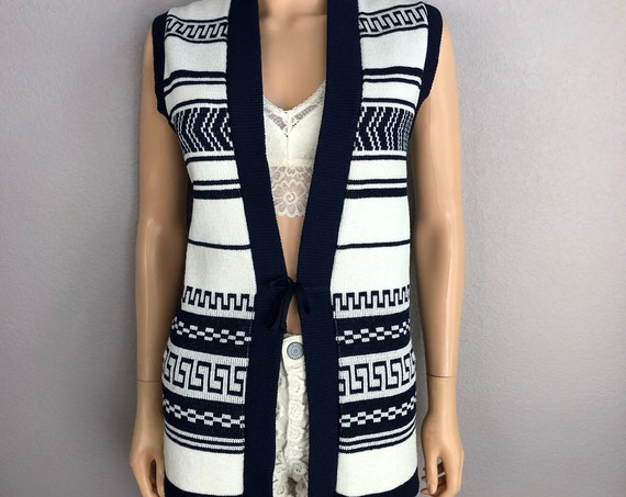 70s Women's Retro Knit Vest Size 16 Tied Front Boho Hippie Long Vest Navy White 70s Clothing Epsteam
