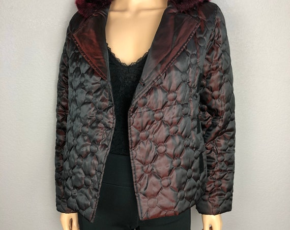 90's Women's Hooded Puffer Jacket by Rampage Size Small Maroon Faux Fur Quilted 90's Clothing Epsteam