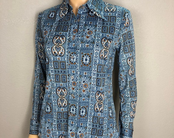 70s Women's Retro Polyester Button Down Shirt Size XS Blue Long Sleeve Paisley Hippie Style 70s Clothing Epsteam