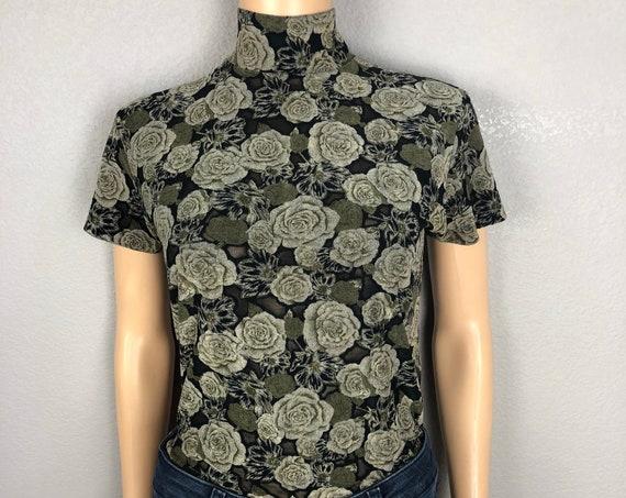 90s Women's Floral Print Mock Neck Shirt Size Medium Burnout Fabric Short Sleeve 90s Clothing Epsteam