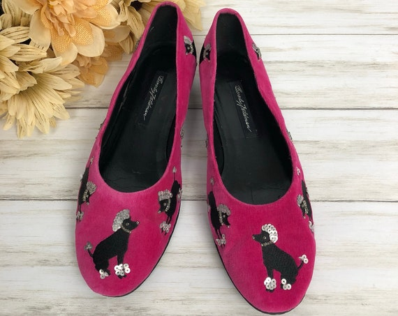 90s Women's Beverly Feldman Poodle Flats Size 8M Hot Pink Velvet Embellished Slip Ons 90's Shoes Epsteam