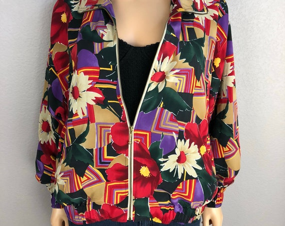 90s Women's Floral Print Windbreaker Size Medium Oversized Long Sleeve Multicolor Activewear Athleasure Track Jacket 90s Clothing Epsteam