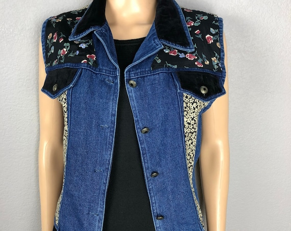 90s Women's Denim Floral Print Vest Size Large Button Down Velvet Trim Vest 90s Clothing Epsteam
