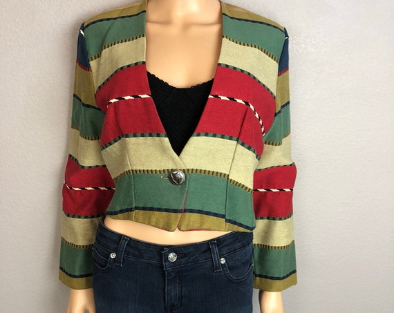 80s Women's Western Cropped Jacket Size Medium Striped Long Sleeve Tied Back 80's Clothing Epsteam