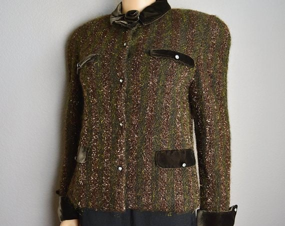 Giorgio Grati Jacket Designer Jacket Long Sleeve Green and Brown 90s Clothing Size 8 Medium Epsteam