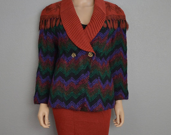80s Wool Mohair Suit Two Piece Multicolor Fuzzy Suit Jacket and Matching Pencil Skirt Size 12/13 80s Clothing Epsteam