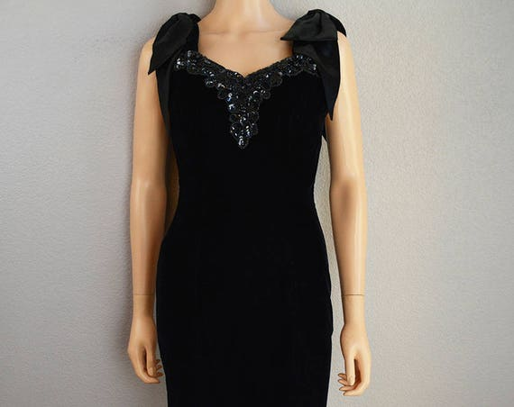 90s Zum Zum Velvet Dress Bow Sleeve Black Sequin Beaded Prom Dress Size Small Knee Length Party Dress Evening Wear 90s Clothing Epsteam