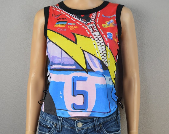 90s Race Car Themed Shirt Novelty Kitsch Race Car Tank With Lace Up Sides 90s Clothing Epsteam
