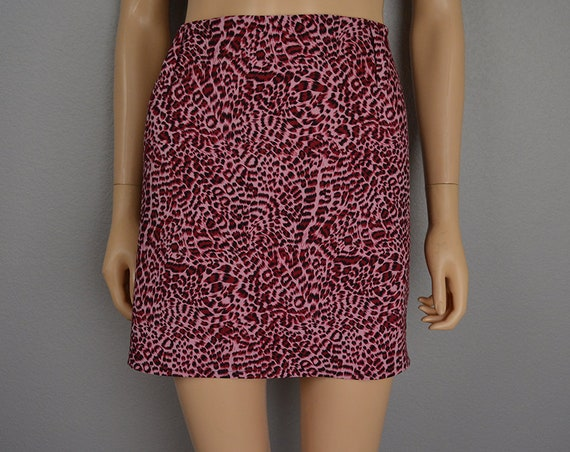 90s Women's Hot Pink Leopard Mini Skirt Size 12 Festival Clothing Gothic Grunge Clubwear 90s Clothing Epsteam