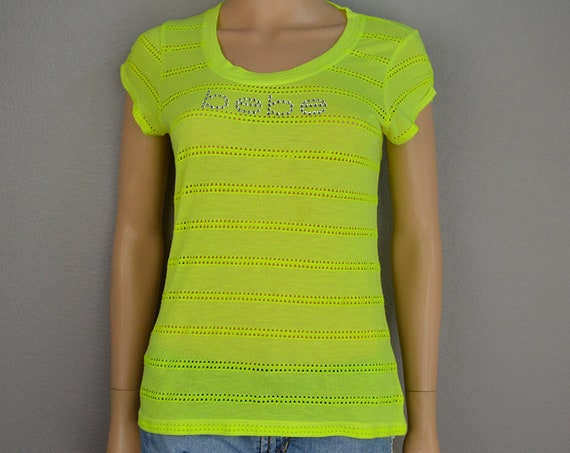 90s Women's Bebe Rhinestone Logo Tee Size Large Neon Lime Green Short Sleeve Casual T-Shirt 90s Clothing Epsteam