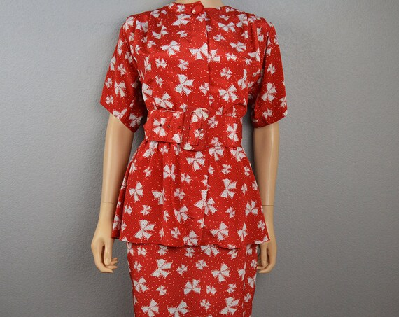 80s Peplum Dress Red Bow Print Dress With Matching Belt Ruffle 80s Dress Work Dress Knee Length Short Sleeve Epsteam