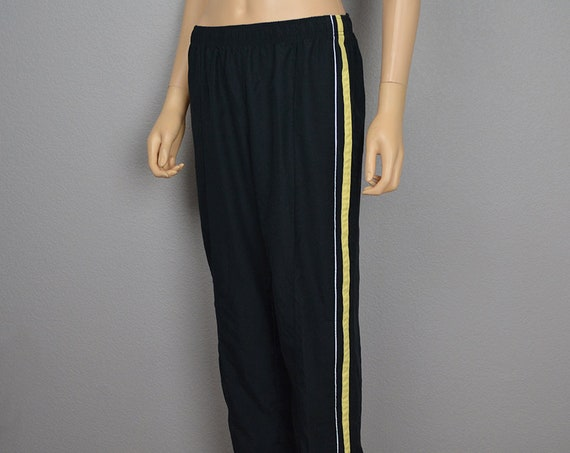 90s Women's Striped Track Pants Size Medium Black Yellow Athleasure Activewear Casual Pants Epsteam