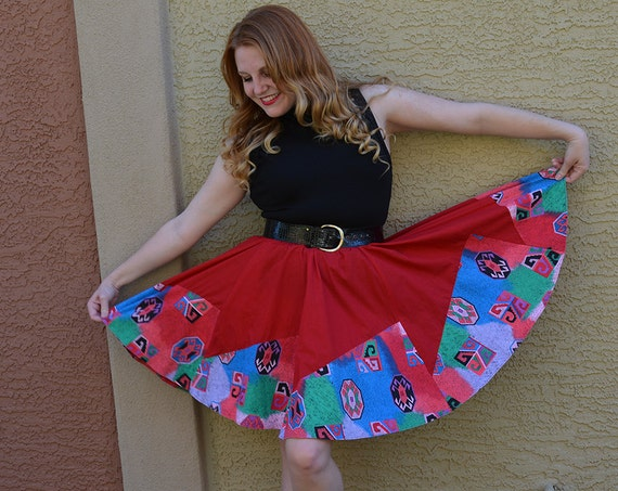 80s Southwestern Skirt Bright Red Flare Skirt A Line Skirt Short Skirt Pinup Skirt Medium 80s Clothing Epsteam