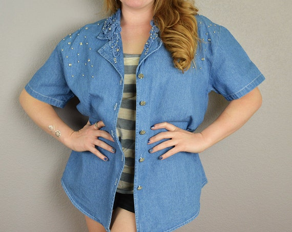 80s Denim Blouse With Appliqués and Rhinestones Casual Short Sleeve Tops 80s Clothing Epsteam