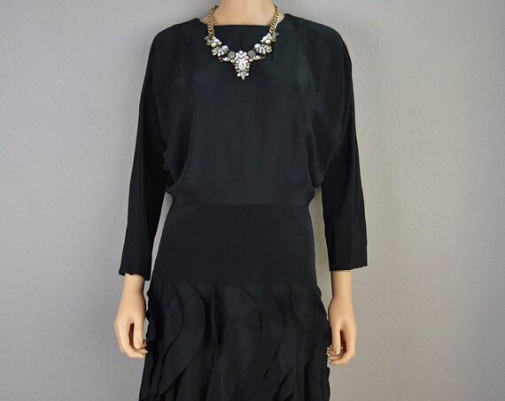 80s Party Dress Black Ruffled Dress Drop Waist Dress Evening Dress Cocktail Dress 80s Clothing Epsteam