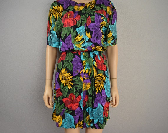 90s Women's Tropical Print Romper Size Small Partners Mervyn's Floral Parrot Print Short Sleeve 90s Clothing Epsteam