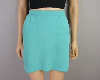 St John Skirt Short Knit Skirt Designer Skirt Robin Egg Blue Tiffany Blue Size 6 Epsteam