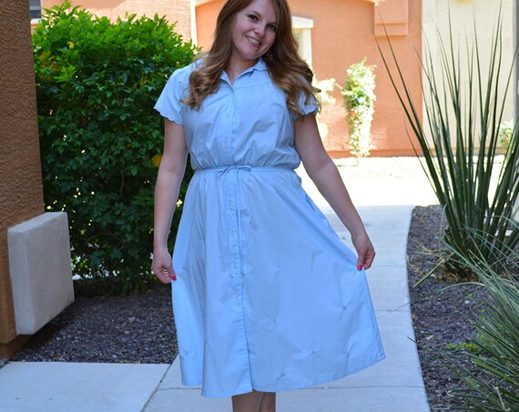 70s Cotton Summer Dress Short Scalloped Sleeves Pale Baby Blue Shirt Dress 70s Clothing Epsteam