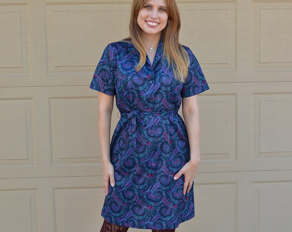 60s Paisley Shirt Dress Button Down Belted Shift Dress Knee Length 60s Clothing Epsteam