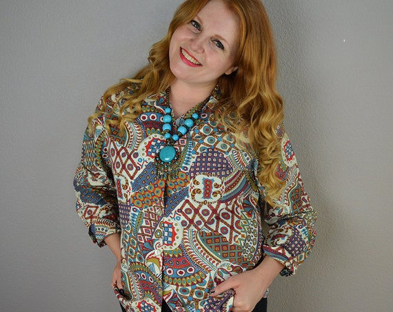 70s Retro Boho Shirt Long Sleeve Cotton Button Down Casual Shirt Large 70s Clothing Epsteam