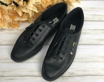c7f1b93091456c 80s Women s LA Gear Black Leather Sneakers Size 6.5M Low Top Lace Up Tennis  Shoes Epsteam