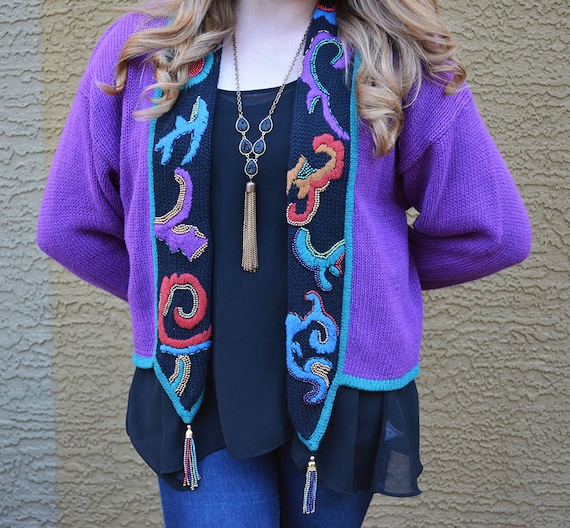 90s Purple Cardigan Long Sleeve Sweater Beaded Sweater 90s Sweater Kitsch Sweater Epsteam