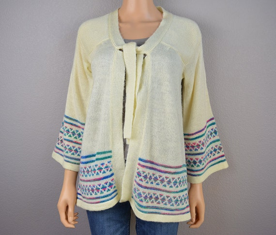 70s Cream Cardigan With Bell Sleeves and Tie 70s Sweater Size Medium 70s Clothing Epsteam