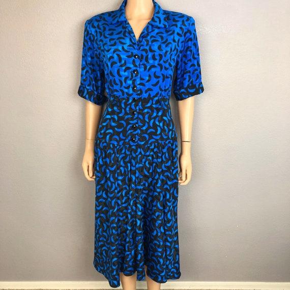 80s Women's Button Down Dress Geometric Print Size 6 Blue Black 80's Glam Epsteam