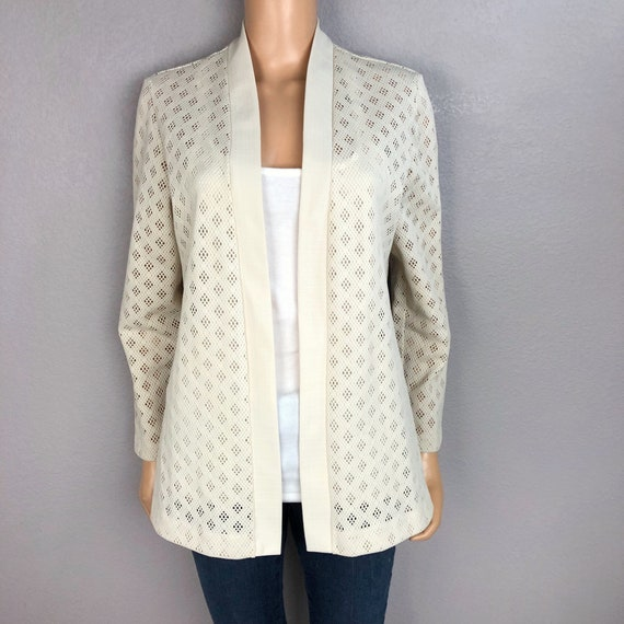 70s Women's Perforated Retro Jacket Size Medium Cream Open Front Long Sleeve 70's Clothing Epsteam