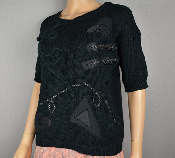 80s Embellished Sweater Black Short Sleeve Knit Blouse Geometric Print Size Large 80s Clothing Epsteam