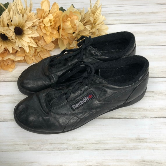 90s Women's Reebok Classics Sneakers Black Leather Low Tops Size 8.5M Epsteam