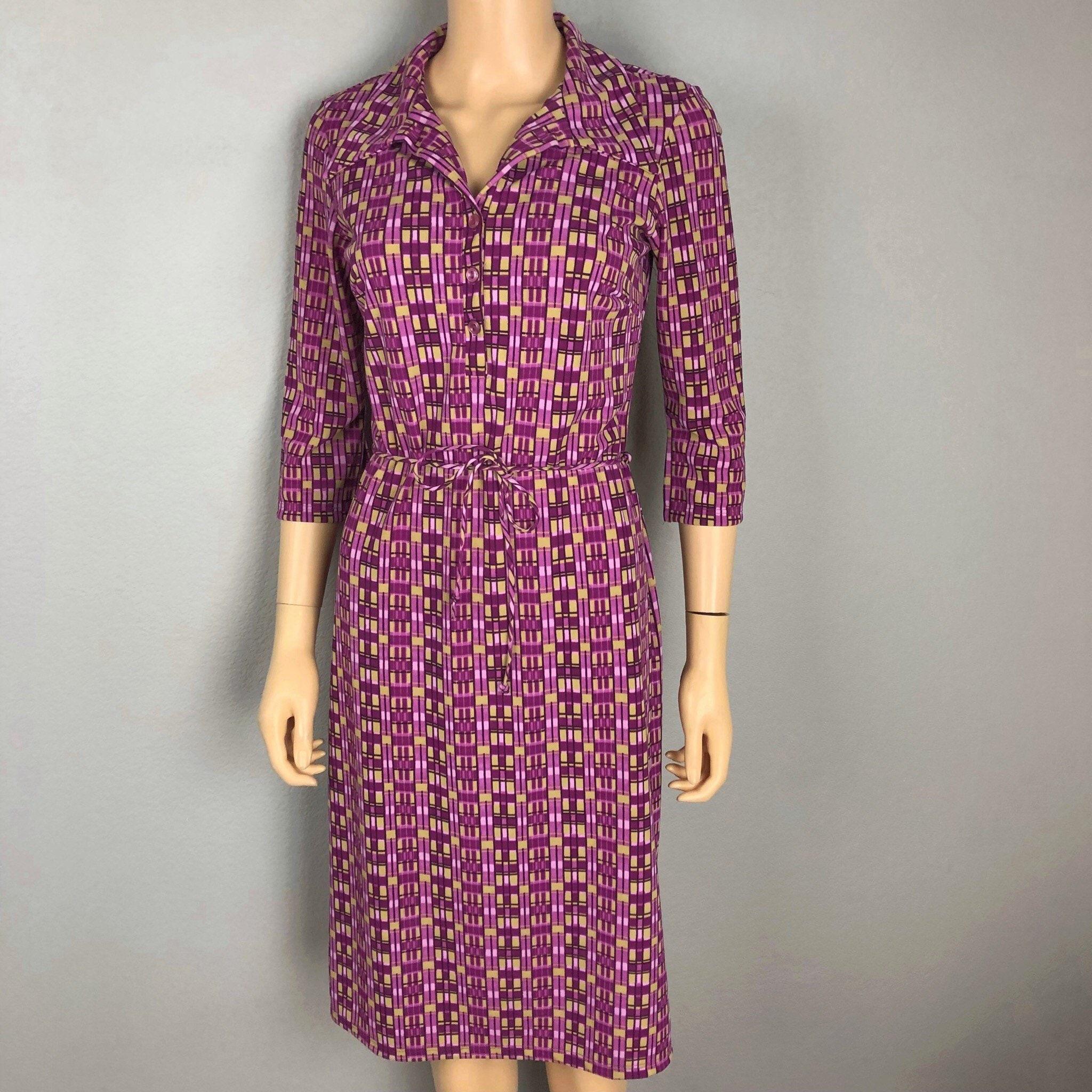 90s Womens Geometric Print Shirt Dress Size Medium Purple Retro