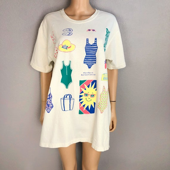 90s Women's Oversized T-shirt Swimsuit Cover Up One Size Beige Short Sleeve Swimsuit Printed Cotton Epsteam