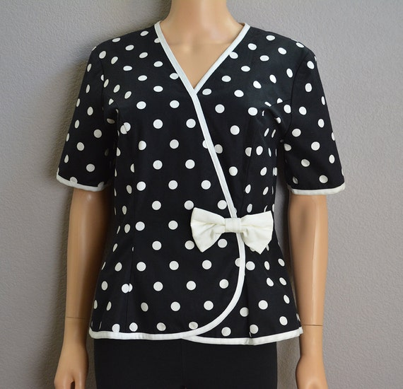 80s Polka Dot Jacket Black and White Short Sleeve Wrap Top Peplum Top 8 Petite Epsteam