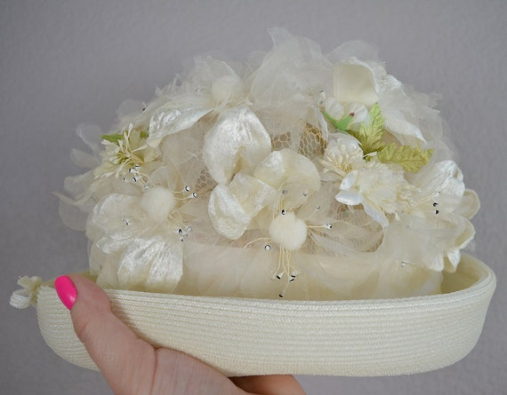 60s Floral Hat White Bowler Hat With Fabric Flower Appliqués White Bow and Ribbon Trim Epsteam