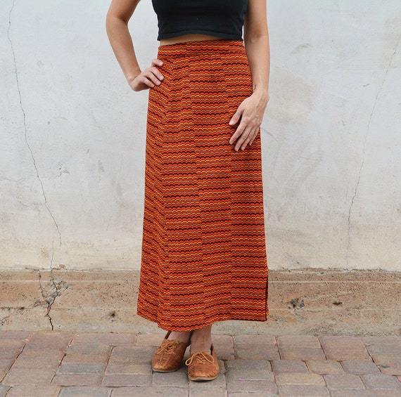 Orange Retro Skirt Hippie Boho Skirt High Waisted Maxi Skirt Long Skirt 70s Clothing Epsteam