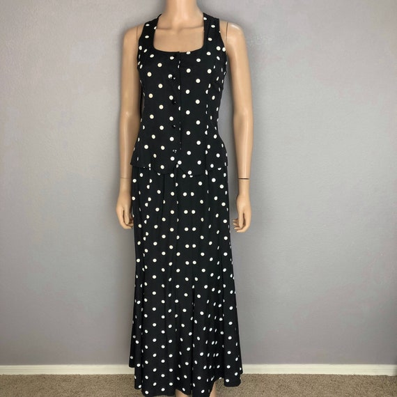 90s Women's Polka Dot Two Piece Set Tank and Matching Skirt Size Medium Black White Epsteam